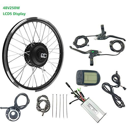 GGD Eléctricos de la conversión de la Bicicleta Kit 250W 48V E-Bici Motor de la Rueda LCD5 16-28inch 700C E-Bici Kit de Bicicletas Kit de conversión de fácil instalación,16inch LCD Sets