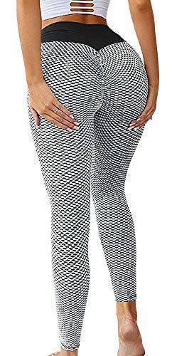 Memoryee Frauen Honeycomb Leggings geraffte Hintern heben hohe Taille Yogahosen schick mit Taschen Sport Bauch Kontrolle Gym/Style2-Grey/L