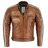 BOSmoto Herren Retro Biker Lederjacke Motorrad Jacke Race Streifen Rockerjacke Chopper 5Xl