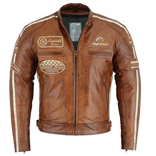 BOSmoto Herren Retro Biker Lederjacke Motorrad Jacke Race Streifen Rockerjacke Chopper L