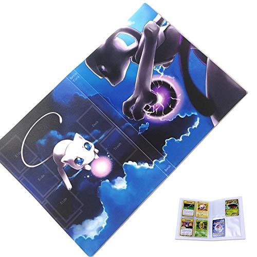 30 Páginas-120 Bolsillos-Contiene 120 tarjetas individuales o 240 tarjetas dobles (espalda con espalda), Álbum para cartas Pokemon, Álbumes de almacenamiento de tarjetas coleccionables (Mewtwo VS Mew)