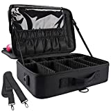 JOURMON Makeup Travel Case Large Makeup Train Case Organizer Cosmetic Bag Portable 16.5 Inches Make Up Storage for Women Bags with Adjustable Dividers and Shoulder Strap