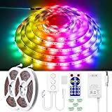 ALITOVE LED Strip Lights 32.8ft Dream Color RGB Bluetooth LED Light Strip Music Sync Color Chasing Rainbow WS2811 Addressable LED Pixels Lights Strips 10M 300 LED Waterproof for Bedroom Home Party