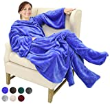 Catalonia TV-Decke Kuscheldecke mit Ärmel- und Fußtaschen Vlies-Decke große Wickeldecke zum Überwerfen, für Damen und Herren, 190x 135cm, blau