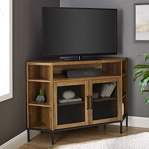 """Walker Edison Modern Metal Mesh and Wood Corner Universal Stand with Open Shelves Cabinet Doors TV's up to 55"""" Flat Screen Living Room Storage Entertainment Center, 48 Inch, Reclaimed Barnwood"""