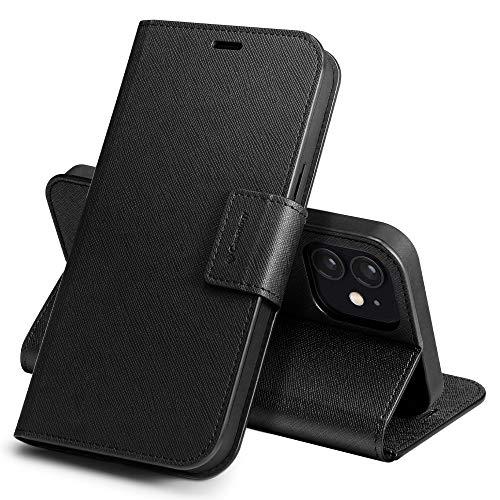 Caseology iPhone 12 ケース iPhone 12 Pro ケース 手帳型 サフィアーノ レザー 高級 iPhone12 iPhone12Pro カバー 全面保護 マグネット 傷防止 指紋防止 カード 収納 薄型 カリン (サフィアーノ・ブラック)