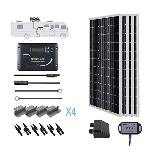 Renogy 400 Watts 12 Volts Monocrystalline Solar RV Kit Off-Grid Kit with Adventurer 30A PWM LCD Charge Controller+ Mounting Brackets+ Male and Female Connectors+Solar Cables+Cable Entry housing
