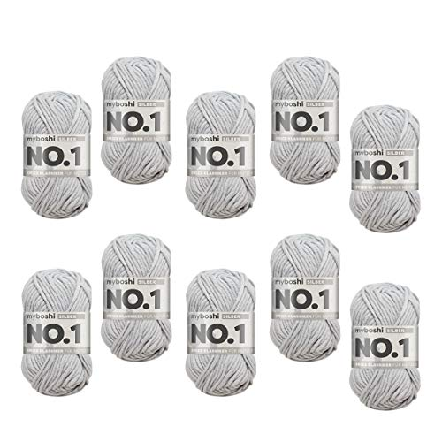 myboshi Woll-Modell: No.1, mit Merinowolle, 10er Pack Silber
