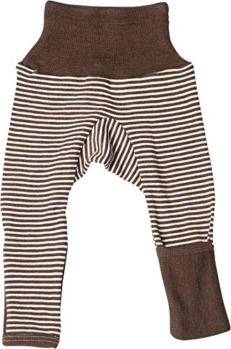 Cosilana Baby Hose lang mit Bund und Kratzschutz zum umklappen aus 70% Wolle und 30% Seide kbT (62/68, Geringelt Braun-Natur)