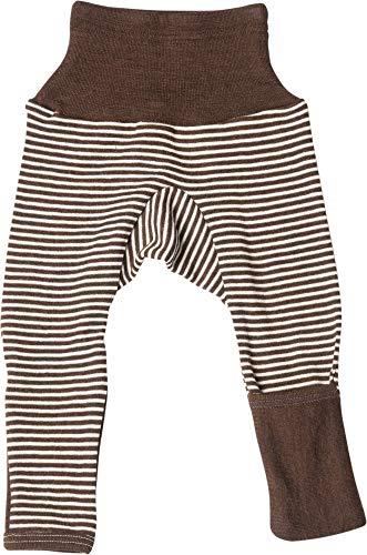 Cosilana Baby Hose lang mit Bund und Kratzschutz zum umklappen aus 70% Wolle und 30% Seide kbT (86/92, Geringelt Braun-Natur)