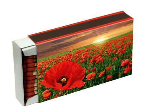 10 Schachteln à 50 Zündhölzer für Grill, Kamin und Kerzen Camino 10 cm (500 Streichhölzer), Motiv Blumen KM Match Art. 1556