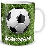 TRIOSK Tasse Fußball Spruch lustig mit Namen personalisiert Leben ohne Fussball Geschenk für Fußballfans Kinder Männer Jungs Fußballtrainer