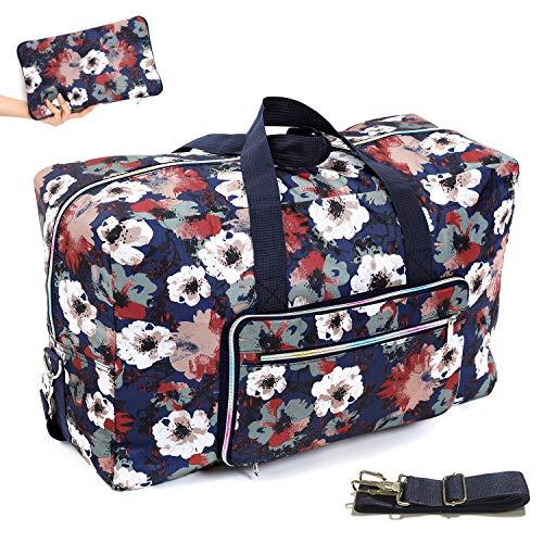22' Foldable Large Travel Duffel Duffle Bag Overnight Carryon Weekend Bag Shoulder Bag Water Rresistant 8 Color Choices (ink flower)