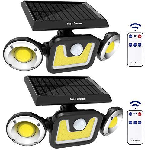 Solarlampen für außen mit Bewegungsmelder, 83 LEDs Solarleuchten für außen mit Fernbedienung, IP65 Wasserdicht LED Strahler Außenwandleuchten für Garten, Garage, Patio, Hof, Weg (2 Stücke)
