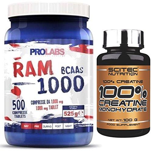 Prolabs Ram 1000 500 cpr. da 1 gr. Aminoacidi Ramificati Bcaa + Creatina 100% Creatine Monoidrato in Polvere 100gr. Scitec Nutrition