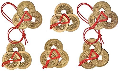 Monedas Chinas, Moneda de Feng Shui, Monedas I-Ching con Hilo Rojo, para Buena Suerte y Salud, 6 Juegos 6 Estilos (3 Monedas por Juego)