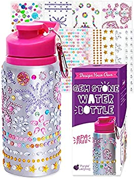 Purple Ladybug Decorate Your Own Water Bottle for Girls with Tons of Rhinestone Glitter Gem Stickers - BPA Free Kids Water Bottle Craft Kit - Cute Gift for Girl Fun DIY Arts and Crafts Activity