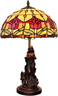 QJUZO Lámpara de Mesa Tiffany Angel Vintage,12 pulgadas Lámpara de Escritorio de tulipán rojo retro, Base de Resina de ángel, E27 Lámpara de Cabecera de Dormitorio