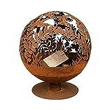 Fallen Fruits-Cut Gusseisen Globe Feuerschale Feuerstelle mit Blumen Motiv