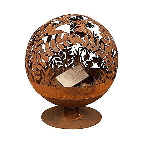 Fallen Fruits Oxidised Woodland Globe Speher Fire Pit Basket Bowl Cast Iron