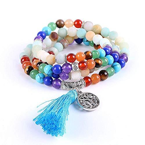 Piedra Natural del Amazonas 7 Pulseras De Chakra 6Mm Tibetano 108 Oración Mala Bead Meditación Reiki Yoga Joyería De Equilibrio