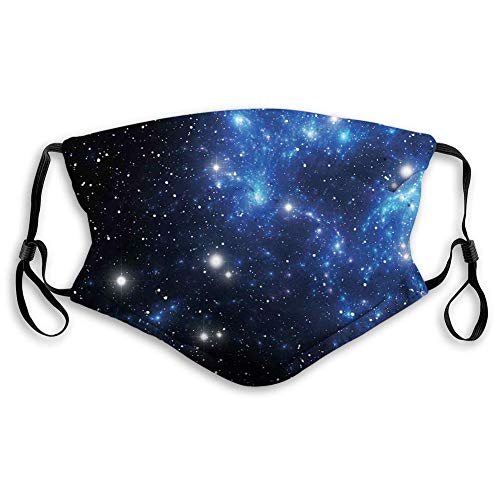 Comfortable Printed mask,Constellation, Outer Space Star Nebula Astral Cluster Astronomy Theme Galaxy Mystery,Blue,Windproof Facial Decorations for Adults