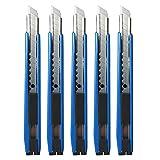 Gebildet 5 pezzi Blu Taglierina di Utilità, Snap-Off Lame 9 mm, Angolo...