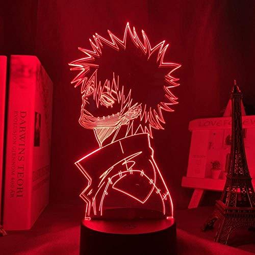 3D Luz De Noche Led Acrílico Anime My Hero Academia Dabi Para Decoración De Dormitorio Regalo De Manga Lámpara De Mesa Colorida