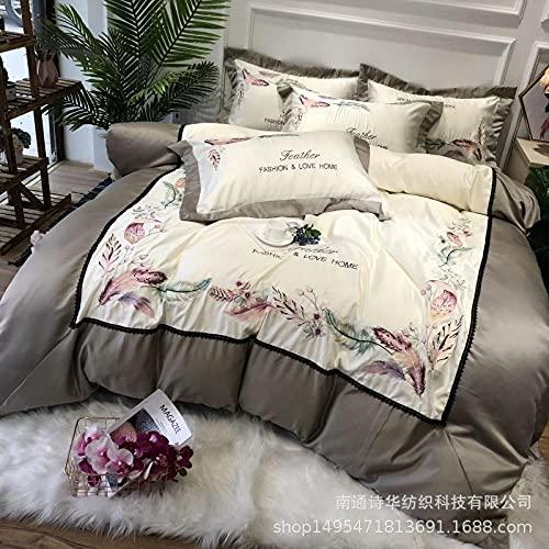 Funda nórdica y 2 Fundas de Almohada,Kit de algodón de seda de lavado de agua de los años 60, cómoda piel transpirable cama individual de ropa de cama para estudiantes Down es durmiente regalo de cam