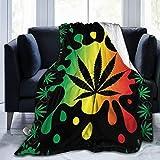 PNNUO Flannel Fleece Blanket-Splatter Hemp Leaf Weed Blanket Queen Size,All-Season Plush Blanket Comfortable & Warm for Couch Bed Or Men Women
