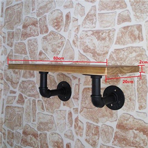 Étagère, étagère de rangement en bois massif Imitation créative Fer sur le mur Plateau à étagères Plateau industriel Bar à repasser Restaurant L40 / 60/80 * W20cm (taille : 80cm)