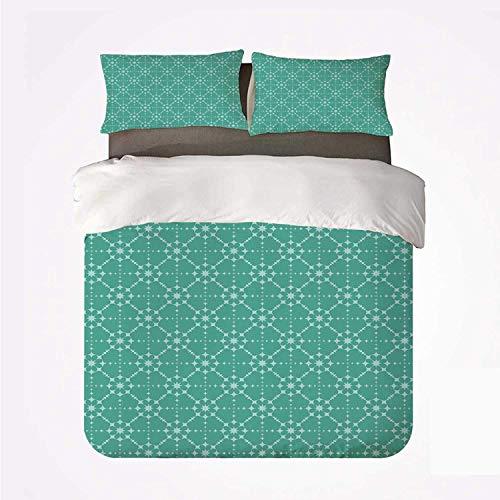 Patrón de estrella de color suave retro geométrico con formas de rombo Diseño de arte abstracto geométrico,Juego de ropa de cama con funda nórdica de microfibra y 2 funda de almohada - 240 x 260 cm