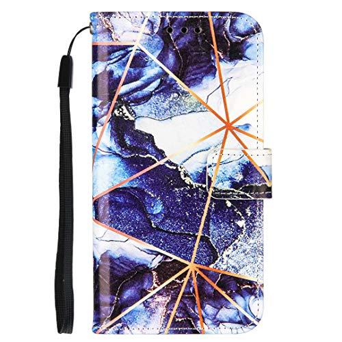 Für Xiaomi Redmi Note 9S & Redmi Note 9 Pro Hülle, Stoßfest Marmor Stein Muster PU Leder Flip Wallet Handyhülle TPU Bumper Schutzhülle mit Kartenhalter Magnetverschluss Kickstand Dunkelblau