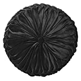 "Cassiel Home 14.5"" Pintuck Round Throw Pillow - Handcrafted Pumpkin Velvet Floor Pillow - Black Throw Pillows Cushion for Chair Couch(Solid Black)"