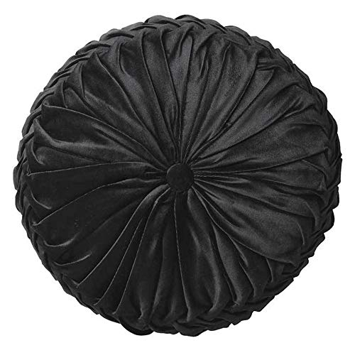 Cassiel Home 14.5' Pintuck Round Throw Pillow - Handcrafted Pumpkin Velvet Floor Pillow - Black Throw Pillows Cushion for Chair Couch(Solid Black)