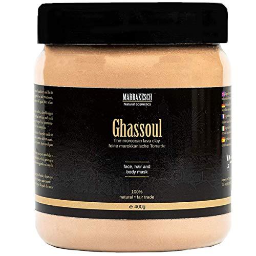 Ghassoul marokkanische original Wascherde Tonerde Lavaerde Lava Clay für Haar Shampoo Körperpflege Gesichtsmaske Peeling Sauna Naturkosmetik vegan, ohne Tenside | fein 400g