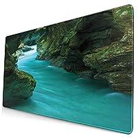 KIMDFACE 大型 マウスパッド トルミンカアルプスの川の水と洞窟エキゾチックな自然旅行の写真 個性的 おしゃれ 柔軟 かわいい ゲーミングマウスパッド PC ノートパソコン オフィス用 デスクマット 滑り止め 特大 マウスマット