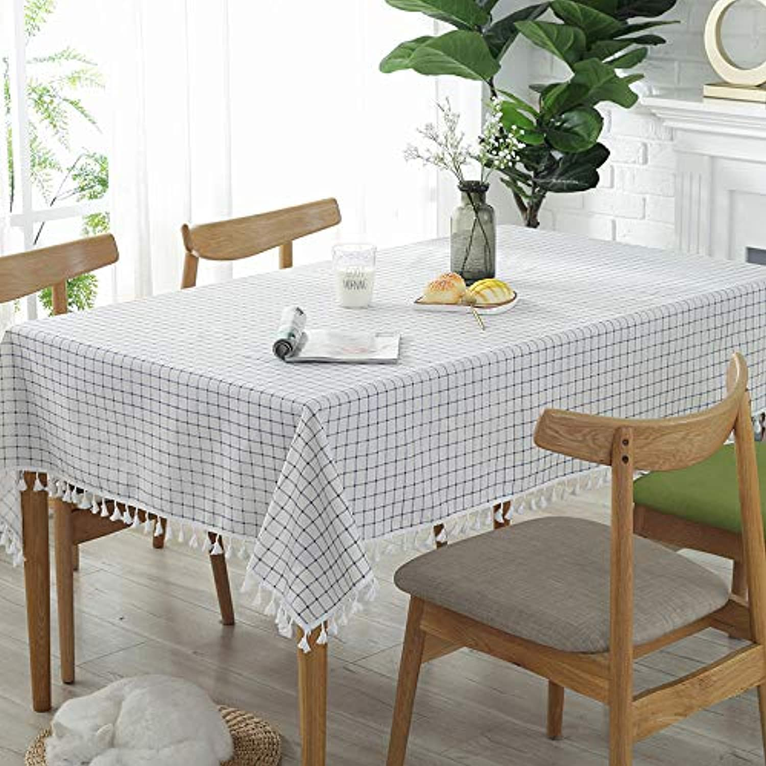 Nordic simple plain plaid fabric tablecloth cotton and linen small fresh rectangular dormitory table cloth coffee table cloth, fabric tablecloth  bluee and white plaid curling, 135135cm suitable squ