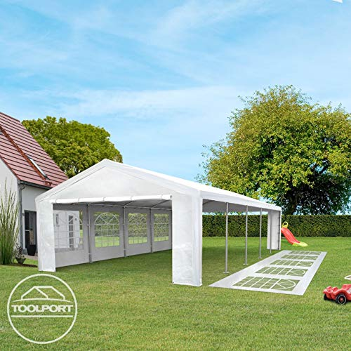 TOOLPORT Partyzelt Pavillon 4x8 m in weiß 180 g/m² PE Plane Wasserdicht UV Schutz Festzelt Gartenzelt - 4