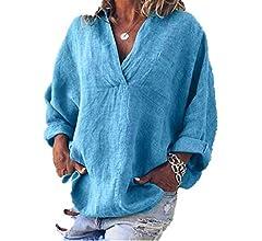 LRWEY Camisetas para Mujer, Mujer Moda Tallas Grandes sólido Lino ...