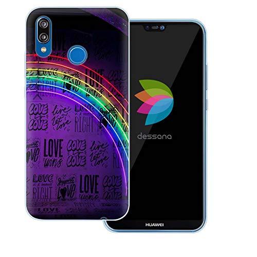 dessana LGBTQ+ Rainbow durchsichtige Schutzhülle Handy Hülle Cover Tasche für Huawei P20 Lite Live and let Love