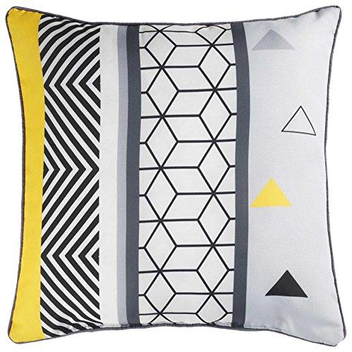 douceur d'intérieur Coussin Passepoil 40 x 40 cm Polyester Yellow Mix DES. PLACE Polyester Imprime 15 x 40 cm