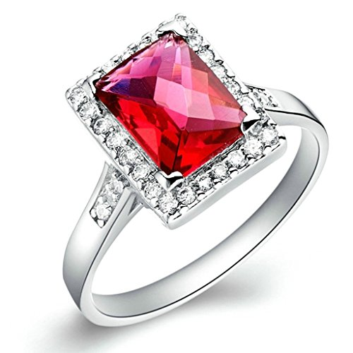 Daesar Versilbert Damen Ring Silber Verlobungsring Platz Zirkonia Ring Strass Ring Princess Schliff Größe:54 (17.2)
