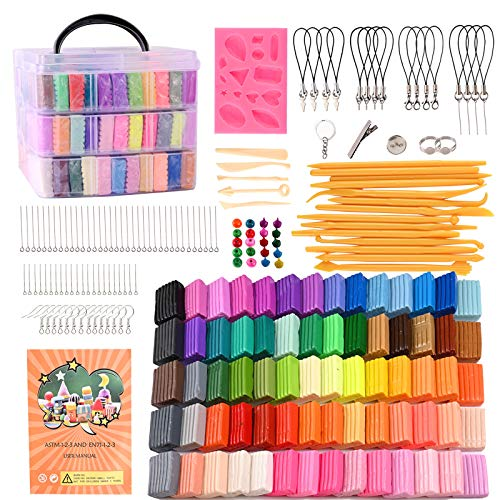 Polymer Clay, 70 Colors Oven Bake Modeling Clay Kit Art Baking Tool for Girl Boy DIY Craft Earringsculpey Jewelry Sculpting Toy