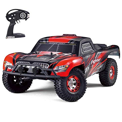 Tecesy Upgrade RC Trucks 4x4 46+ kmh, 2.4Ghz RC Monster Truck Waterproof RC Offroad Truck Fast Racing Hobby RC Car with 2 Rechargeable Batteries for Adults & Kids,Red