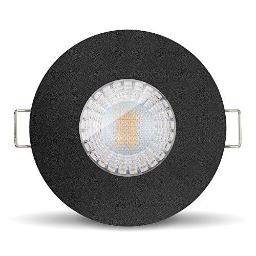 Ledox Led Bad Einbaustrahler Set IP65 dimmbar & wasser geschützt inkl. Einbaurahmen Lista Aqua schwarz 230V 7W GU10 3000k warmweiß - 60° Abstrahlwinkel - 550 Lumen ersetzt 50 Watt (3er Set)