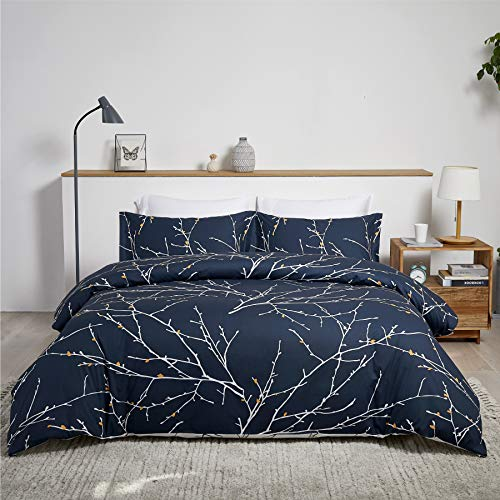 Bedsure 100% Cotton Duvet Cover Set Super King Size - 3 pcs Tree Branch Bedding Set with 2 Pillowcases, Navy, 260x220cm