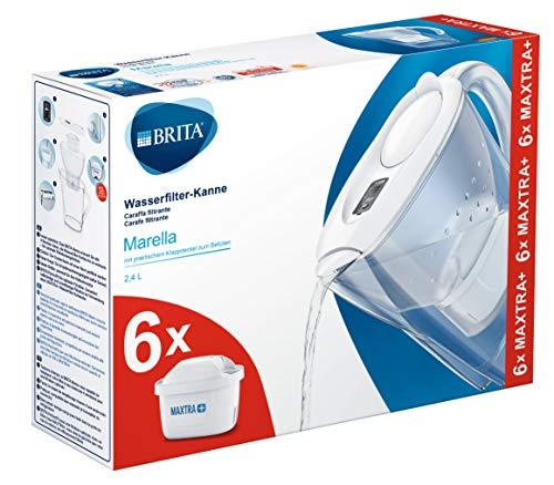 BRITA Wasserfilter Marella weiß inkl. 6 MAXTRA+ Filterkartuschen – BRITA Filter Starterpaket zur Reduzierung von Kalk, Chlor, Blei, Kupfer & geschmacksstörenden Stoffen im Wasser