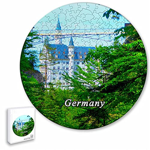 Alemania Marien Bridge Fussen Rompecabezas de 195 Piezas con Forma Redonda de Animales de Madera para niños y Adultos, Recuerdos de 16.5 × 16.5 Pulgadas