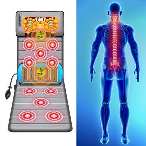 InLoveArts Beheizte Massagematte Massage-Matte Mit Hitze mit 20 Hals Shiatsu Knetmassageköpfen, Massage-matte Elektrisch, Ganzkörper-Massage for Rücken, Lendenwirbelwadenmuskelentspannung